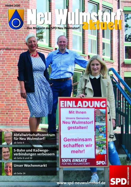 Titelbild Neu Wulmstorf aktuell Nr. 23 Petra Andersen, Tobias Handtke & Timea Baars vor dem Rathaus Neu Wulmstorf